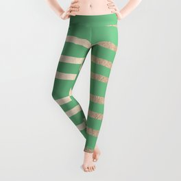 Abstract Drawn Stripes Gold Tropical Green Leggings