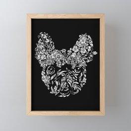 Botanical frenchie Framed Mini Art Print