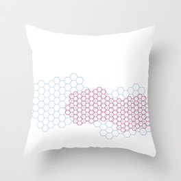 Red and blue cellular overlapping grids Throw Pillow