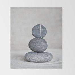 Zen cairn pebble stone balance grey Throw Blanket
