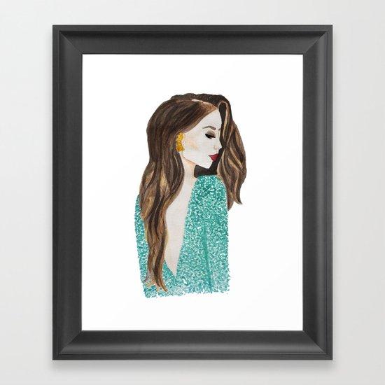 Fashion Ilustration girl dress red lips Framed Art Print