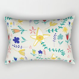 Floral The Tortoise and the Hare is one of Aesop Fables beige Rectangular Pillow
