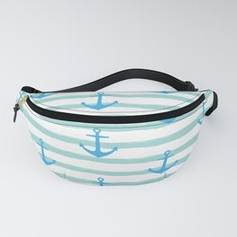 Anchor & Stripes Pattern - Mint / Blue Fanny Pack