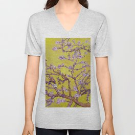 "Vincent van Gogh ""Almond Blossoms"" (edited gold) Unisex V-Neck"