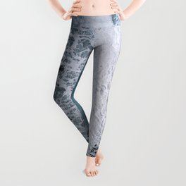 Aerial of a Black Sand Beach with Waves - Oceanscape Leggings