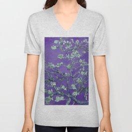 "Vincent van Gogh ""Almond Blossoms"" (edited purple) Unisex V-Neck"