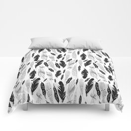 raphic pattern feathers on a white background Comforters