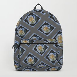 DECORATIVE WHITE ROSES GREY-BLACK PATTERNS ART Backpack