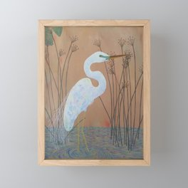 Unicorn Egret Framed Mini Art Print