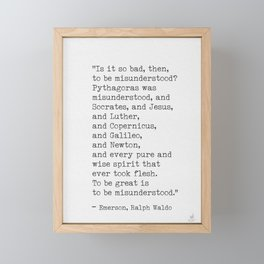 Emerson quote 9 Framed Mini Art Print
