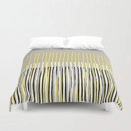 Yellow Rising - abstract stripes in yellow, grey, black & white Duvet Cover