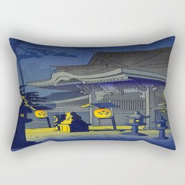 Japanese Woodblock Print Vintage Asian Art Colorful Woodblock Prints Shrine At Night Lantern Rectangular Pillow