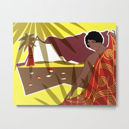 ANACAPRI: Art Deco Lady in Yellow and Red Metal Print