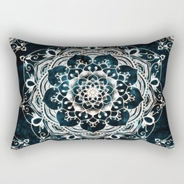 Glowing Spirit Mandala Blue White Rectangular Pillow