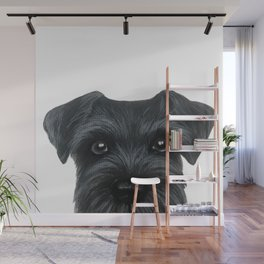Black Schnauzer, Dog illustration original painting print Wall Mural