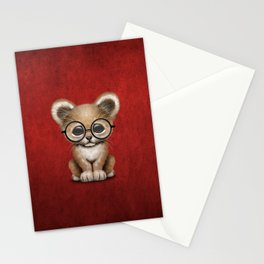 Cute Baby Lion Cub Wearing Glasses on Red Stationery Cards
