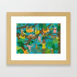 Happy Sloths Jungle Framed Art Print