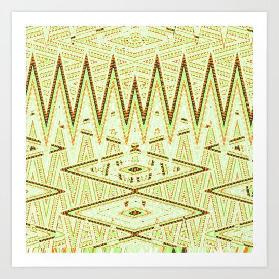 Mod Orange Green Chevron Tribal Geometric Pattern Art Print