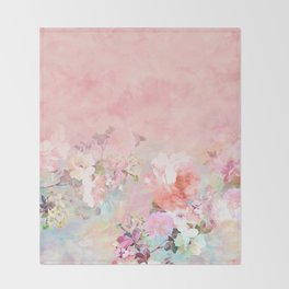 Modern blush watercolor ombre floral watercolor pattern Throw Blanket