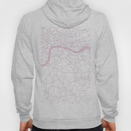 London White on Pink Street Map Hoody