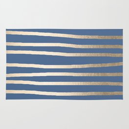 Simply Drawn Stripes White Gold Sands on Aegean Blue Rug