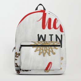 Hello Winter Holiday Typography Greeting Backpack