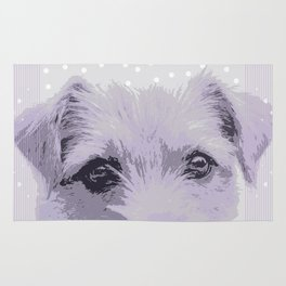 Curious little dog waiting for you - funny dog portrait Rug