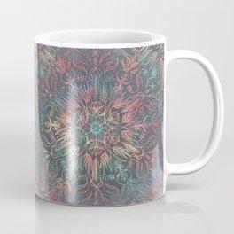 Winter Sunset Mandala in Charcoal, Mint and Melon Coffee Mug