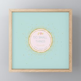 Do small things with great love - Typography on aqua background Framed Mini Art Print