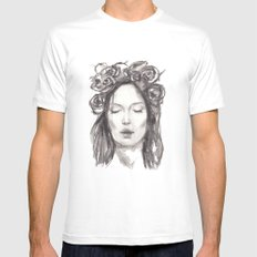 Actress Monica Bellucci - Editorial White MEDIUM Mens Fitted Tee