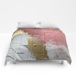Darling: a minimal, abstract mixed-media piece in pink, white, and gold by Alyssa Hamilton Art Comforters