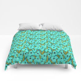 Blue Puya, Floral Pattern, turqouise, teal and yellow Comforters