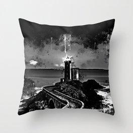 lighthouse plouzane wsbw Throw Pillow