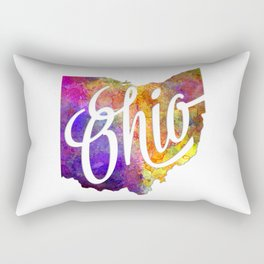 Ohio US State in watercolor text cut out Rectangular Pillow