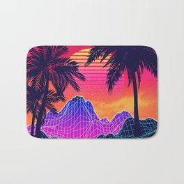 Neon glowing grid rocks and palm trees, futuristic landscape design Bath Mat