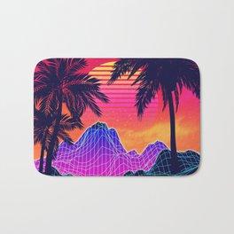 Neon glowing grid rocks and palm trees, futuristic landscape design Bath Mat