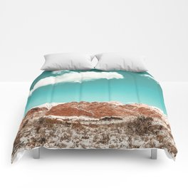 Vintage Red Rocks // Snow in the Mojave Desert Clouds Teal Sky Mountain Range Landscape Comforters