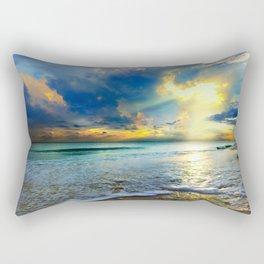 Blue Seascape Art Print Gold Sunrays Sunset Rectangular Pillow