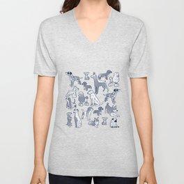 Geometric sweet wet noses // navy blue background white dogs Unisex V-Neck