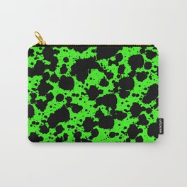 Bright Green and Black Leopard Style Paint Splash Funny Pattern Carry-All Pouch