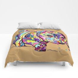 Dappled Dachshund painting on tan Comforters