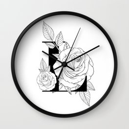 Monogram Letter L with Rose Line Art Wall Clock