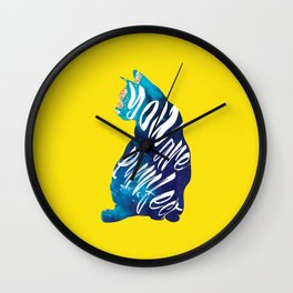 Colorful You Are Purrfect Double Exposure Quote Wall Clock