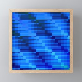 Buildings At Night In Blue Modern Abstract Framed Mini Art Print