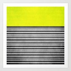 Yellow Gray Stripes Art Print