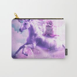 Kitty Cat Riding On Flying Space Galaxy Unicorn Carry-All Pouch