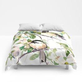 Chickadees and Dogwood Flowers Comforters