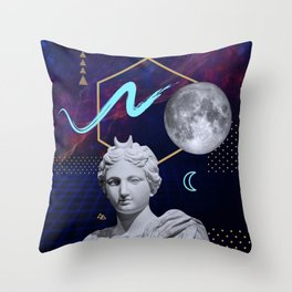 Ancient Gods and Planets: Moon Throw Pillow