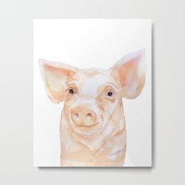 Pig Face Watercolor Farm Animal Metal Print