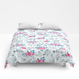 Romantic fuchsia blue gray watercolor hand painted roses Comforters